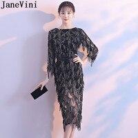 JaneVini Elegant Black Sequins Evening Party Dresses With Sleeves Tea Length Sheath Godmother Mother Bride Dress for Weddings