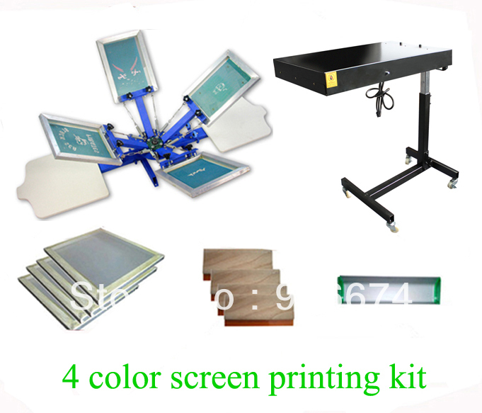 FAST and FREE shipping! 4 color 2 station silk screen printing kit with flash dryer t-shirt printer stretched frame squeegee free shipping aluminum alloy silk screen printing squeegee handle silk screen printing aluminum alloy with shipping cost fee