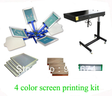 FAST and FREE shipping 4 color 2 station silk screen printing kit with flash dryer t