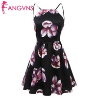 ANGVNS Women Casual Vintage Style Off Shoulder Spaghetti Strap Backless Floral Print Sexy Dress Summer 2018
