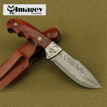 Imagey Damascus knife Wood Handle Hunting Knife Camping Utility Knife With Wooden Handle Damascus Steel Knives