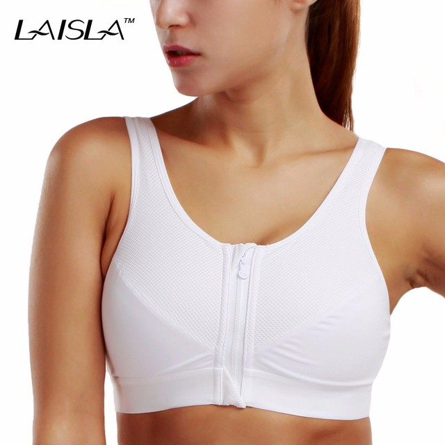 Women's High Impact Level 3 Front Zip X-shape Back No Padded Active Bra