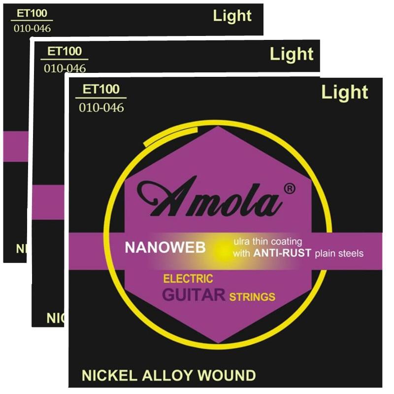 Originele Amola ET100 .010-.046 Gitaarsnaren nikkel-aluminium muziekinstrumenten onderdelen voor gitaaraccessoires 3Sets