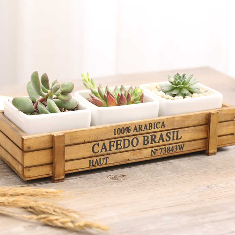 Vaso de madeira Samambaia Interior Planta Suculenta Titulares Pires Bandeja de Desktop Bonsai Plantadores de Vaso de flores De Madeira