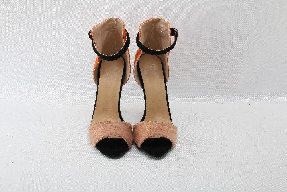 Pink Mujeres Sandalias Tobillo Toe Zapatos Corols Mixta Tacones Correa Verano Suede Marca Calidad Altos Moraima Peep Bombas Orange Snc pHqfaP