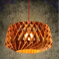 Dia 450mm Oak Wooden Ring Bird Nest Modern Creative DIY Muuto Handmade Wood LED Chandelier Hanging