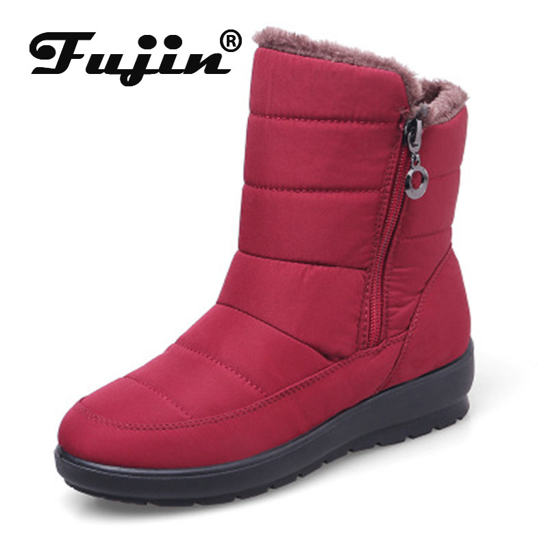 Fujin Shoes Women Snow-Boots Winter Chaussures Large-Size Non-Slip Warm Middle-Old