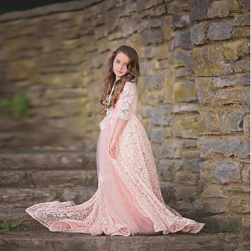 Lovely Pink Jewel Neck A Line Lace Flower Girls Dresses for Wedding Prom 2017 Custom Made Communion Dresses Girls Pageant Gowns