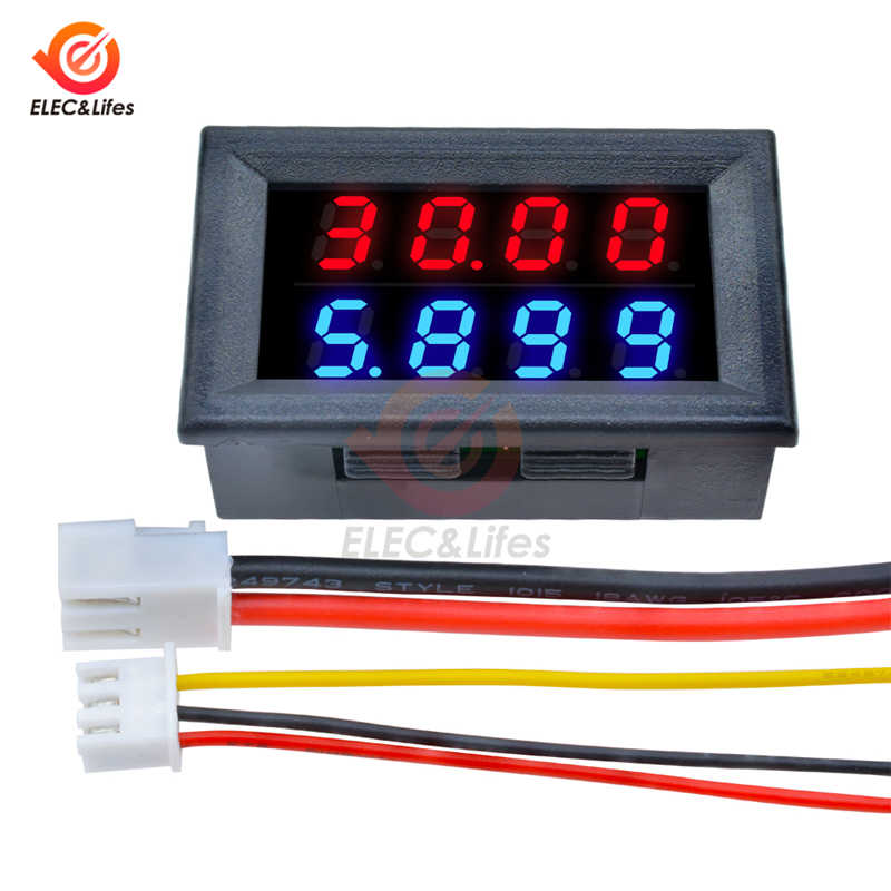 DC 200V 100V 10A LCD Digital Voltage Current Meter Tester Verstelbare Ampèremeter Voltmeter Panel Volt AMP Detector Dual led display