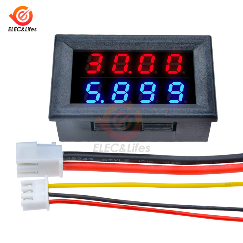 DC 200V 100V 10A LCD Digital Voltage Current Meter Tester Adjustable Ammeter Voltmeter Panel Volt AMP Detector Dual Led Display