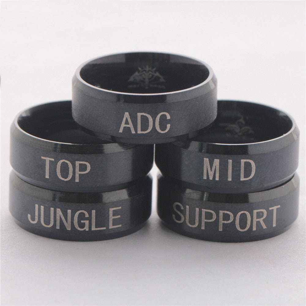 Fashion Lol ADC TOP MID JUNGLE SUPPORT Titanium Stainless steel Bague Homme Punk Biker Wrench rings jewelry rings for men