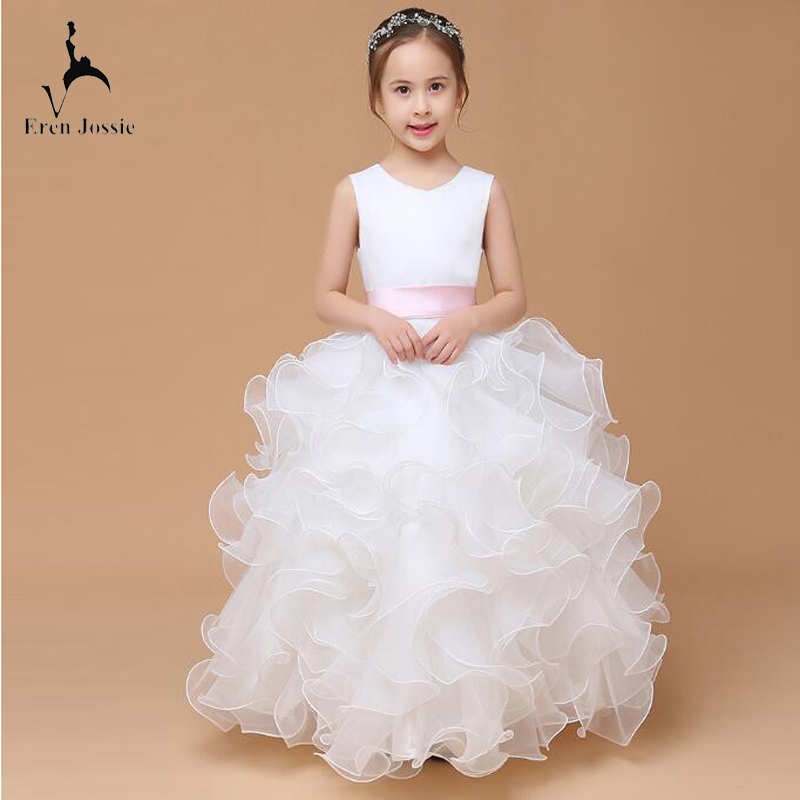Eren Jossie Children's Party   Dress   Ruffled Organza Skirt With Sash Designer Ball Gown   Flower     Girl     Dress