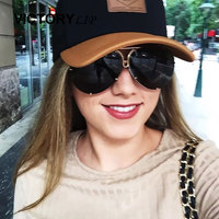 VictoryLip Women Sunglasses Fashion Transparent Brand Designer Sun Glasses Lady Clear Big Metal Frame Hot 2017