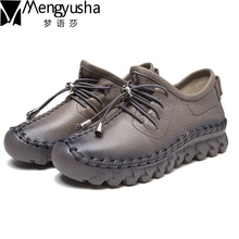 2017 Spring Women Genuine Leather Shoes,High Quanlity Lace Up Handmade Soft Comfortable Single Flats Shoes Women Casual Shoes genuine leather women flats lace up casual leather gray shoes for women autumn flats soft leather retro handmade women shoe 2018