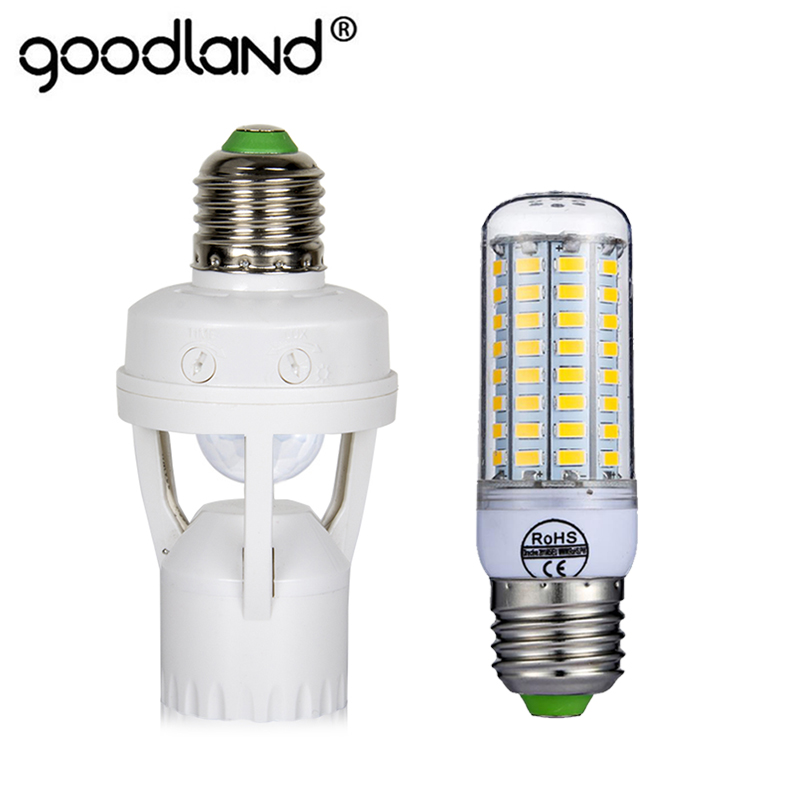 LED Bulb E27 Socket PIR Motion Sensor Lamp Holder Ampoule Light Control Infrared Lamp Base 72LEDs For Home Decoration
