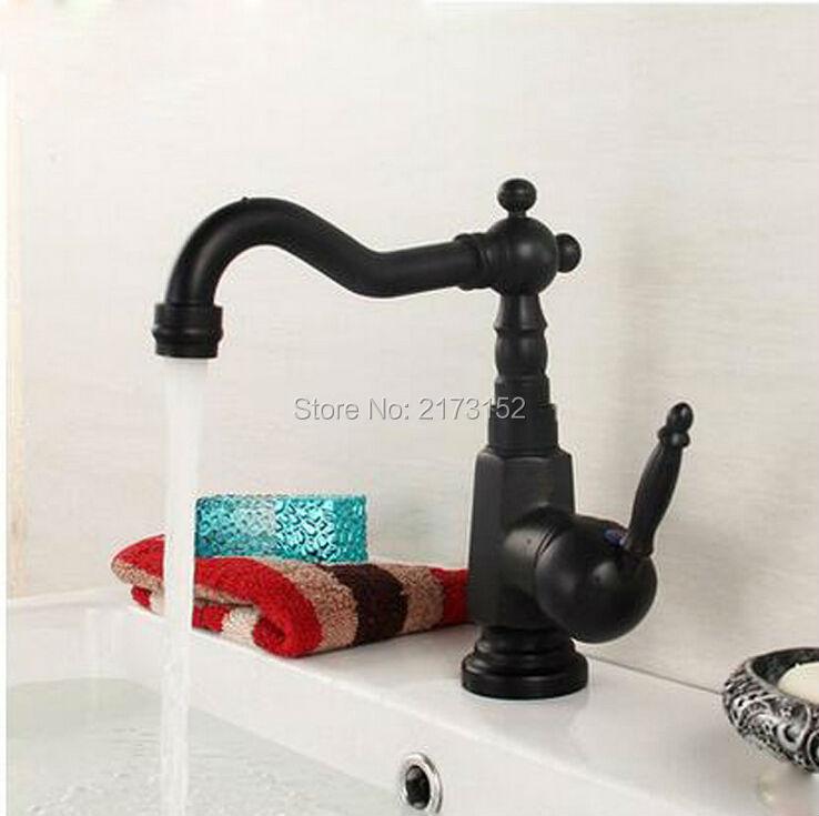 Royal Black Bronze Bathroom Faucet Long Mouth Swivel Square Body ...