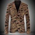 Famouse Marca Homens de Design Floral Impresso Jaqueta de Veludo Blazer Slim Fit Tamanho M-4XL 2016 Moda Festa Estágio Mens Casacos Casuais