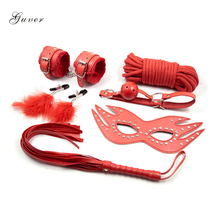 6Pcs/set Guver Fetish Bondage Handcuffs Leather Whip Eyemask Feather Nipple Clamps Mouth Gag Cotton Rope Kit Sex Toys for Couple