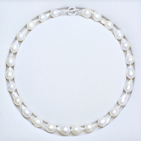 women's Genuine extra large pearl Natural freshwater baroque Shaped pearl necklace Advanced design bright drill lock