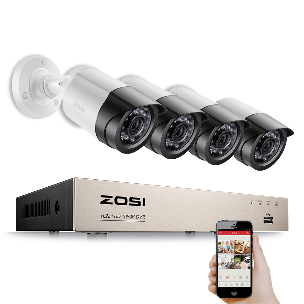 ZOSI Surveillance Kit 4CH 1080P AHD DVR 2TB HDD 2 X 2000TVL 1080P 2 0MP Waterproof