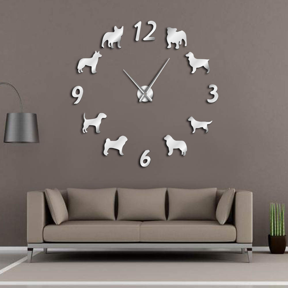 Different Dog Breeds Large Wall Clock Dog Lovers Pet Owners Home Decor Giant Wall Clock Modern Design DIY Puppies Wall Watch