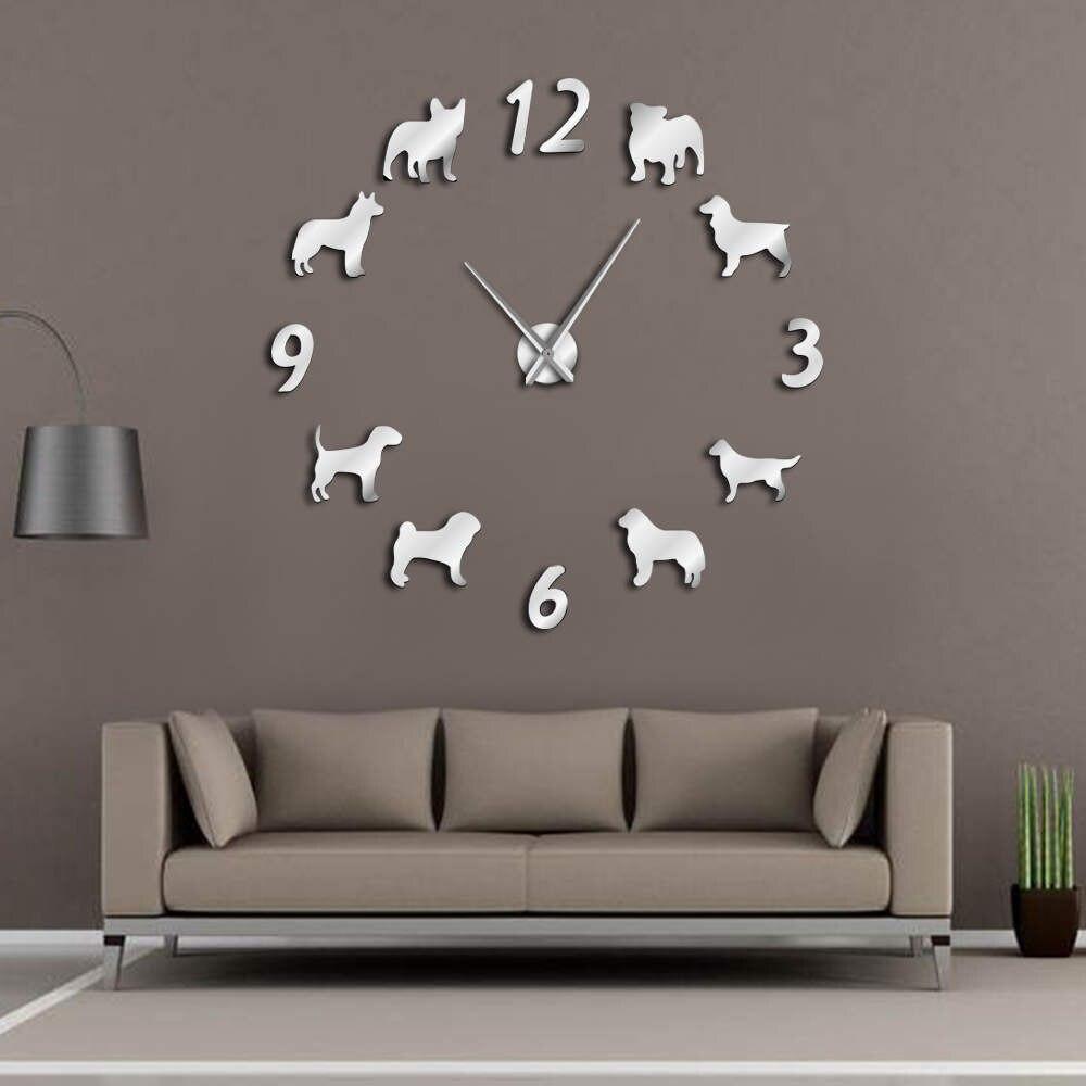 Verschiedene Hunderassen Große Wanduhr Hundeliebhaber Tierbesitzer Wohnkultur Riesigen Wanduhr Modernes Design DIY Welpen Wand uhr