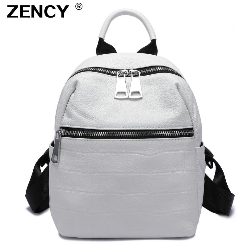 ZENCY 2019 Small Summer Soft Natural Genuine Leather First Layer Cow Leather Women Backpack Ladies Cowhide