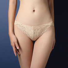 Women Underwear Ultra-thin Sexy Lace Transparent Low Waist Hollow T Back Panties Lady Briefs