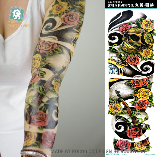 AC-022/2016 Non-Toxic Flower Super Big Tattoos Sticker Fake Horror Skull Gun Full Arm Temporary Body Tattoo