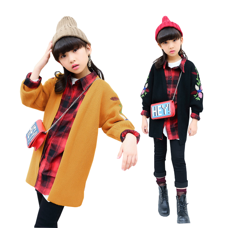 Girls Coat Autumn Sweater for Teenage Girls Knitted Cardigan Cotton Floral Coats Children School Sweater Kids Cardigan 10 12T knitted rib cuff zip up graphic cardigan