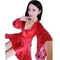 Free Shipping Luxury 2016 Summer Sleepwear Nightdress + Robe Set Fashion Lace Satin Silk Nightwear Elegant Sexy Home Wear Hot