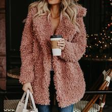 Простой искусственной овечьей шерсти негабаритных куртка пальто зима розовый черный теплый мохнатая куртка для женщин осенняя верхняя одежда 2018 Новы