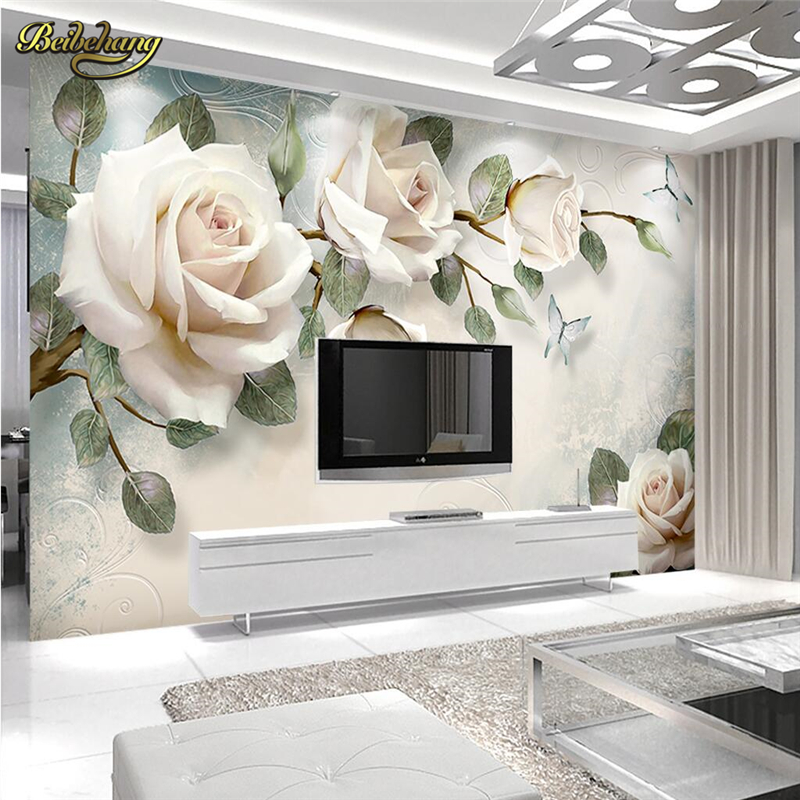 Beibehang Hand Painted Oil Painting Rose Flower Custom 3D Mural Wallpaper Photo Wall Paper Mural Living Room Bedroom Backdrop
