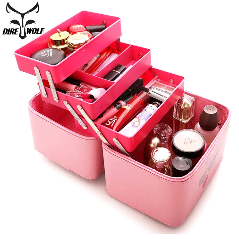 PU Leather Makeup Bag Women Cosmetic Bag Neceser Travel Organizer Professional Make Up Box Large Capacity Storage Bags Suitcase travel beauticians professional cosmetic makeup bag large capacity beauty organizer women portable makeup storage box neceser