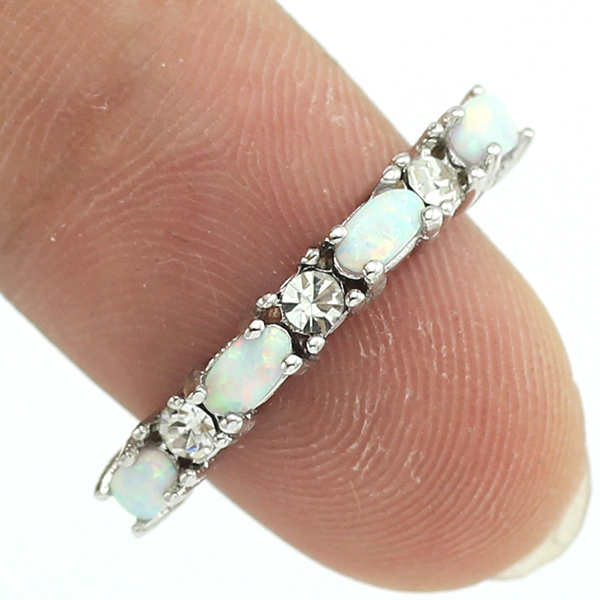 HAIMIS Drop Ship Unusual White Fire Opal Crystal Fashion Jewelry Women Silver Rings Size 5 6 7 8 9 10 11 12 OR825