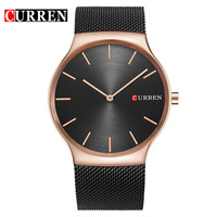 Fashion Golden Men Watch Curren Quartz Watches Full Stainless Steel Band Relogio Masculino Simple Wristwatch 8256