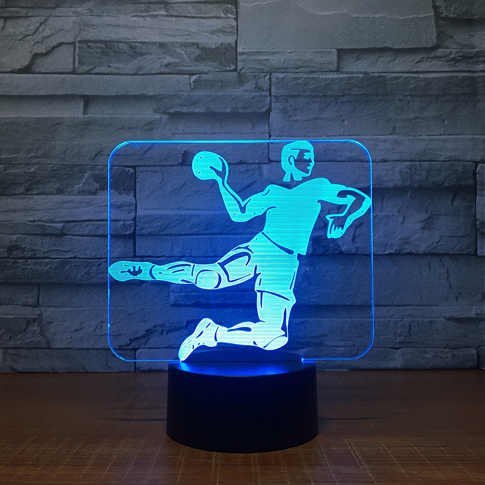 Handball 3D Led Lamp 7-Color Touch Base 3D Night Light Table Lampara Lampe Baby Sleeping Nightlight Sport Fans Kids Gift