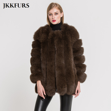 2019 New Womens Real Fox Fur Coat Genuine Natural Jacket Fashion Style Overcoat Ladys Outwear Top Quality S7158B