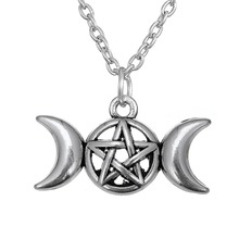 Triple Moon Goddess Pendant Wicca pentagram Magick Amulet Talisman Fashion Moon Necklace tibetan jewelry