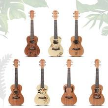 23-дюймовый Шепли миниатюрная гитара укулеле с графикой из мультиков, четыре струнная гитара Гавайский стиль