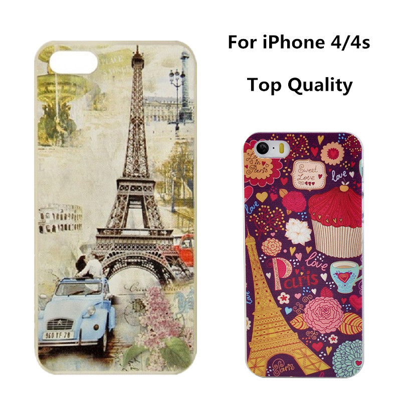 iPhone 4s Case Beautiful Painting Eiffel Tower Butterfly Bus Design Plastic Phone Cases 4 Cover New Fashion - YPC Store store