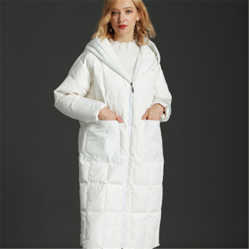 2019 New Arrival Women Winter   Down     Coat   Solid Color Stand Collar Warm Outerwear Female Winter   Coat   X-Long Slim   Down   Jacket T344
