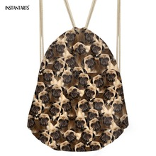 INSTANTARTS 3D Cute Animals Dogs Printing Drawstring Bags Women Man Small String Bags Fashion Multifunction Traveling Satchel