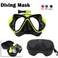 Ir pro silicone máscara de mergulho, natação mergulho scuba vidro + case para gopro hero 4 session 3 +, sjcam sj4000/sj7000, para xiaomi yi aee