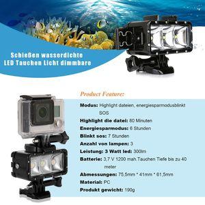 Image 3 - עמיד למים צלילה LED אור וידאו זרקור 40m מתחת למים למלא מנורת Dimmable הר אבזם בורג רצועת ערכת עבור GoPro Hero 5 6