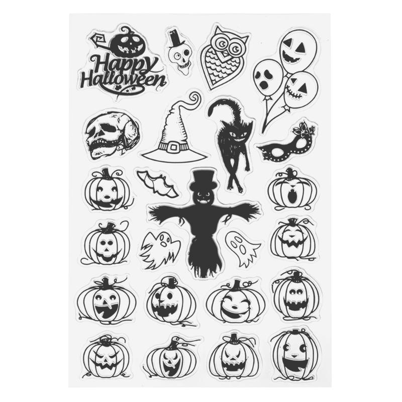 Scary Face Pumpkin Witch Halloween Silicone Clear Transparent Stamp for Scrapbooking DIY Craft Album Paper Card Decor Gift lovely bear and star design clear transparent stamp rubber stamp for diy scrapbooking paper card photo album decor rm 037