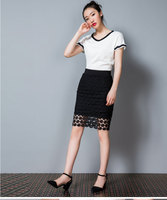 2017 Summer Section Elastic Waist Stretch Large Size Slim Thin Bag Skirt Korean Version Of Lace