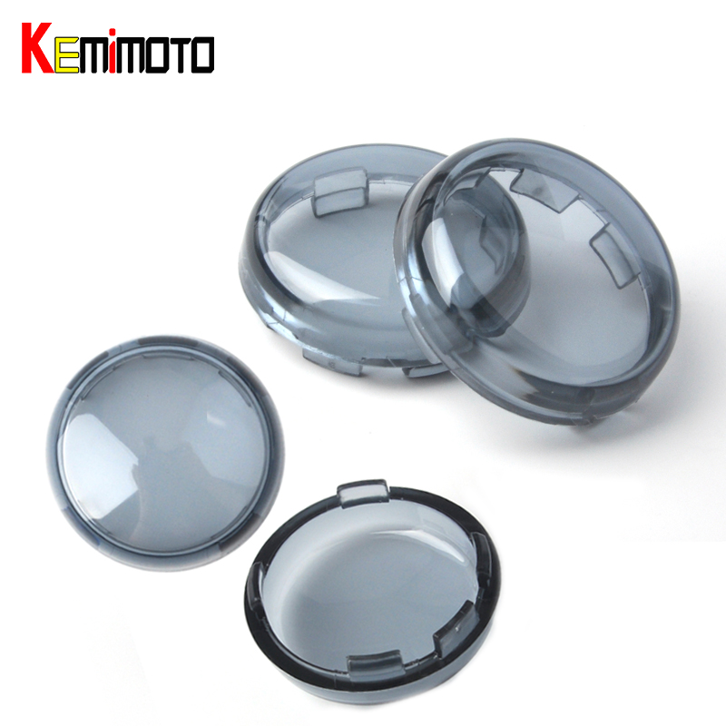 KEMiMOTO 4pcs Turn Signal Light Indicator Lens Cover fit for Harley Sportster 1200 883 Dyna Softail Fatboy Electra Accessories brand new silver color motortcycle accessories abs plastic led tail light fit for harley harley iron 883 xl883n xl1200n chopped