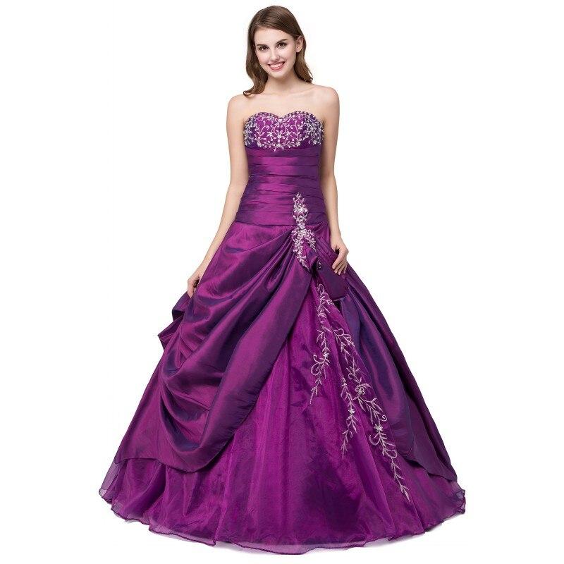 Prêt à expédier violet Quinceanera robe broderie cristaux chérie Vintage robes de bal taffetas debutante robe robe - 6