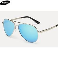 VEGA Melhor Aviação Polarizada Óculos De Sol Para Mulheres Dos Homens Navy Clássico Eyewear Novo Piloto da Força Aérea Óculos de Sol com bolsa 2564